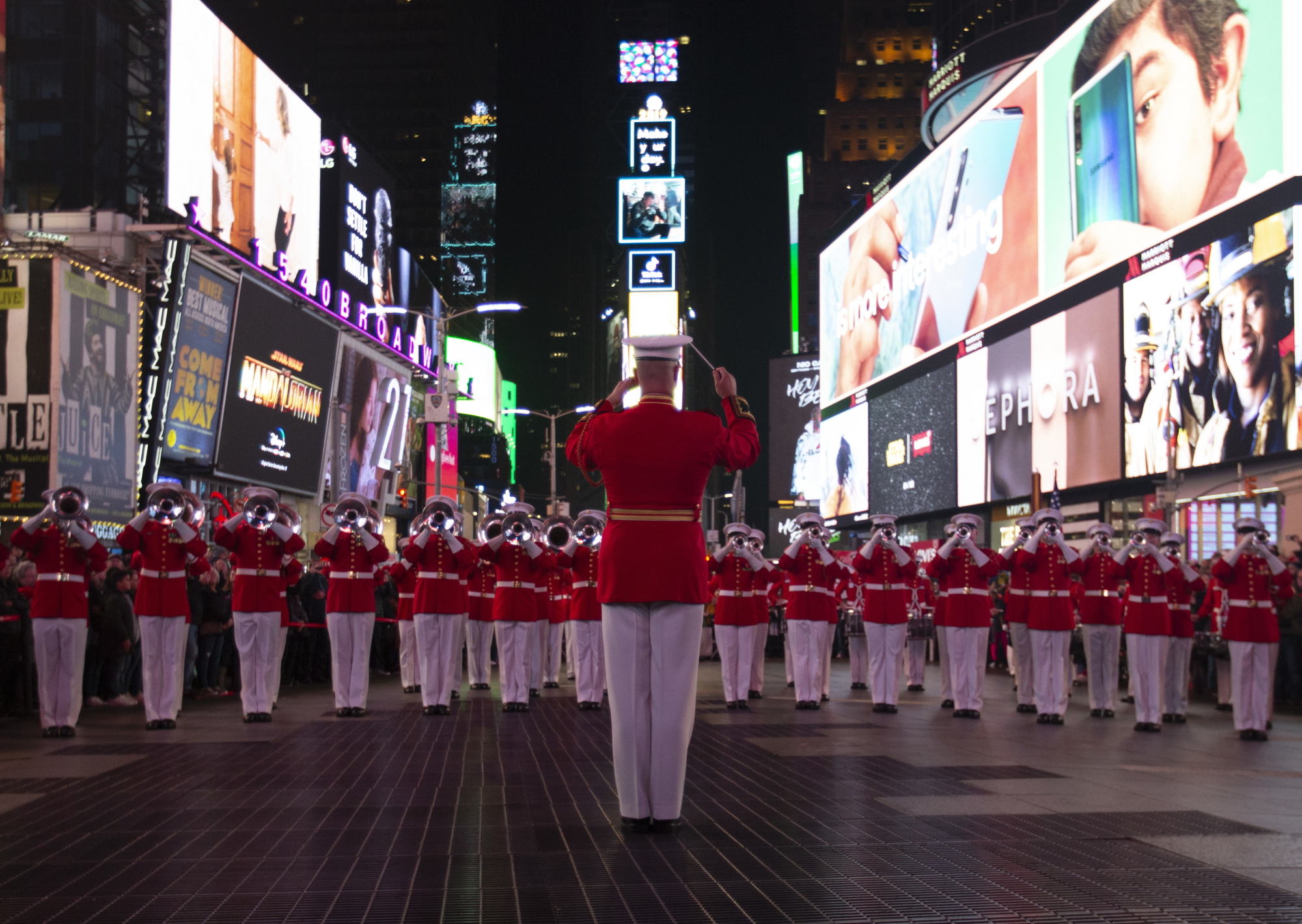The Marine Corps Drum and Bugle Corps performs in Times Square in New York to celebrate the Marine Corps' 244th birthday on Nov. 10, 2019, ahead of Veterans Day. (Cpl. Marvin D. Chavez/Marine Corps)