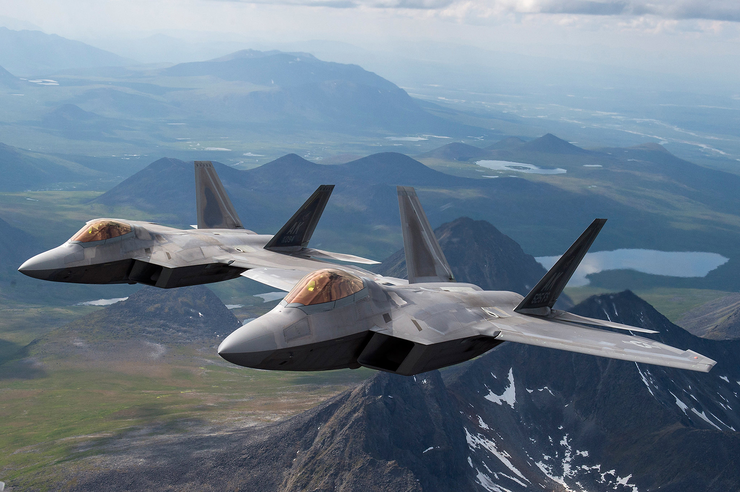Air Force F-22 Raptors from Joint Base Elmendorf-Richardson fly in formation over the Joint Pacific Alaska Range Complex, July 18, 2019. (Staff Sgt. James Richardson/Air Force)