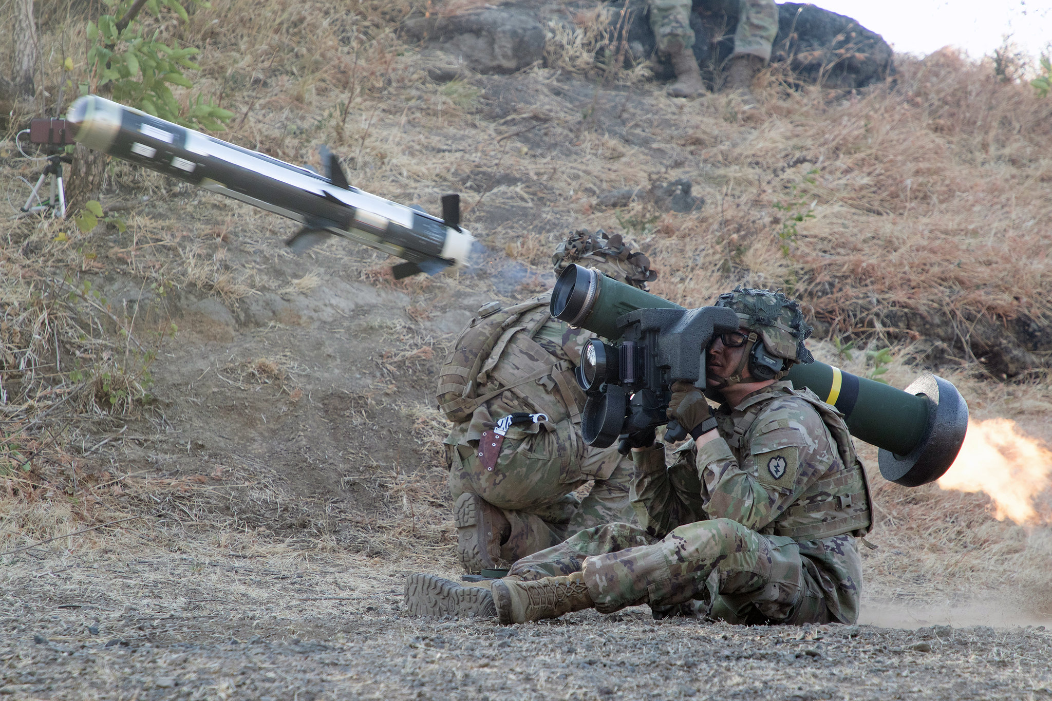 Soldiers fire a Javelin on Aug. 22, 2019, as a part of a joint fires range with Tentara Nasional Indonesia Angkatan Darat (TNI-AD Indonesia Armed Forces) on Pustapur Marine Base. (Pfc. Lawrence Broadnax/Army)