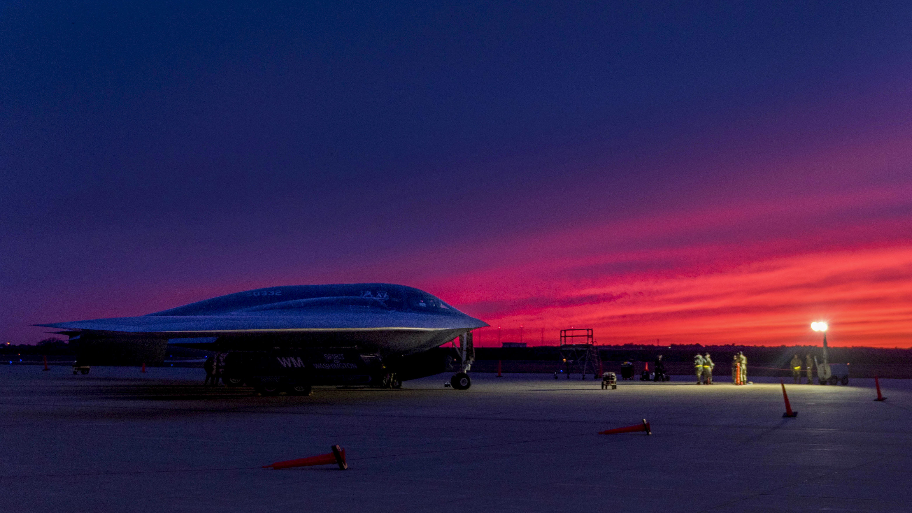 A B-2 Spirit Stealth Bomber, assigned to the 509th Bomb Wing, Whiteman Air Force Base, Missouri, sits on the flight line, Oct 24, 2019. Consistent training and exercising validates the B-2Õs ability to respond to challenges all over the globe. (Sr. Airman Thomas Barley/Air Force)