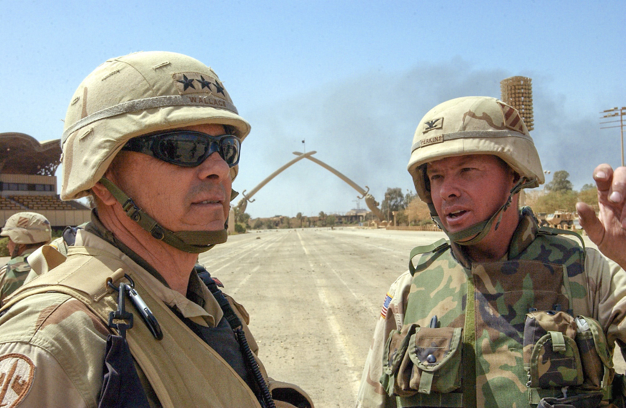 Col. David Perkins consults with the Corps Commander, Lt. Gen. Wallace, in Baghdad on Day 22 during the initial phases of Operation Iraqi Freedom. (Army)
