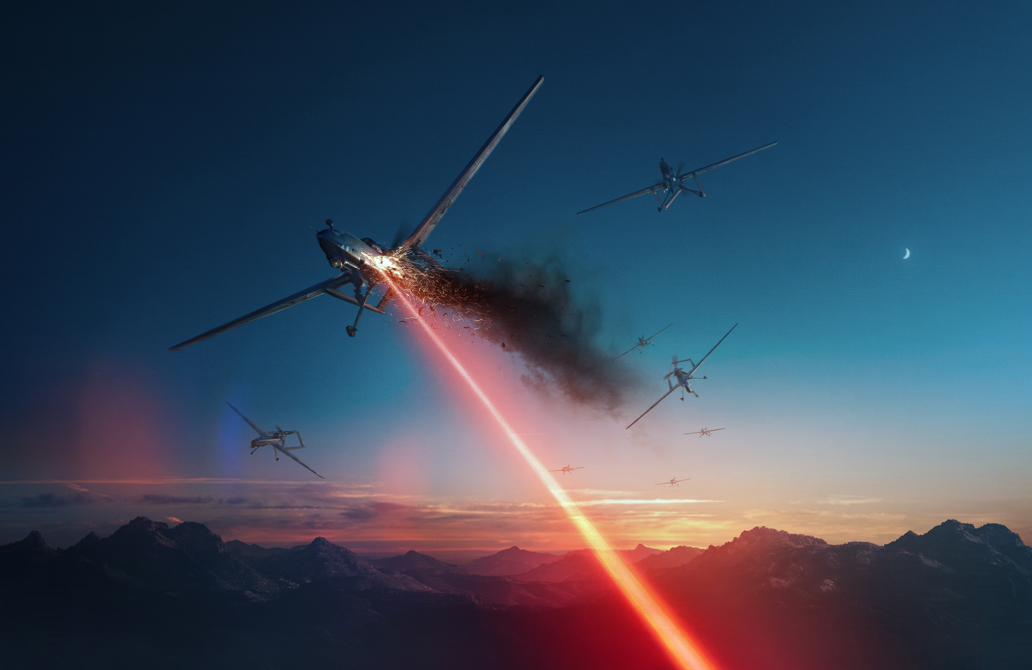 Lockheed Martin's concept art reflects its belief in the potential for directed-energy weapons against unmanned systems. (Lockheed Martin)