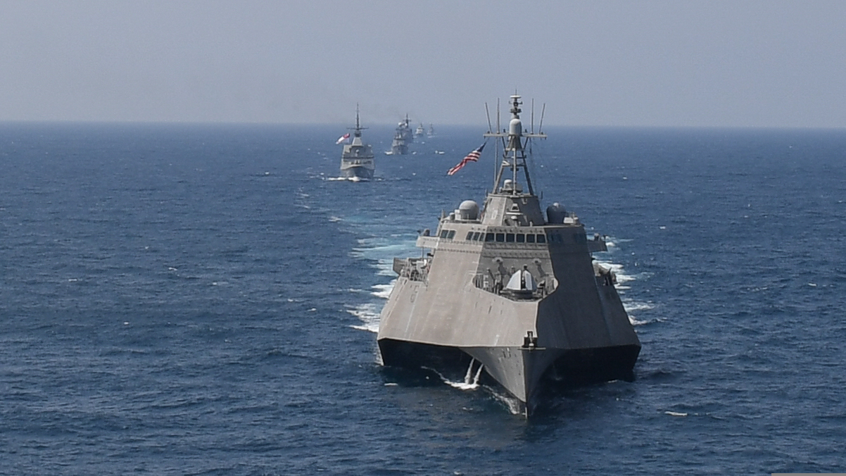 From front to back: Independence-variant littoral combat ship USS Montgomery (LCS 8), ship RSS Tenacious (71), UMS Kyansittha (F-12), BRP Ramone Alcaraz (PS16), KDB Darulaman (OPV-08), and Vietnam Corvette HQ-18 line up in formation Sept. 4, 2019, during a photo exercise as part of the ASEAN-U.S. Maritime Exercise in the Gulf of Thailand. (Mass Communication Specialist 1st Class Alexandra Seeley/Navy)