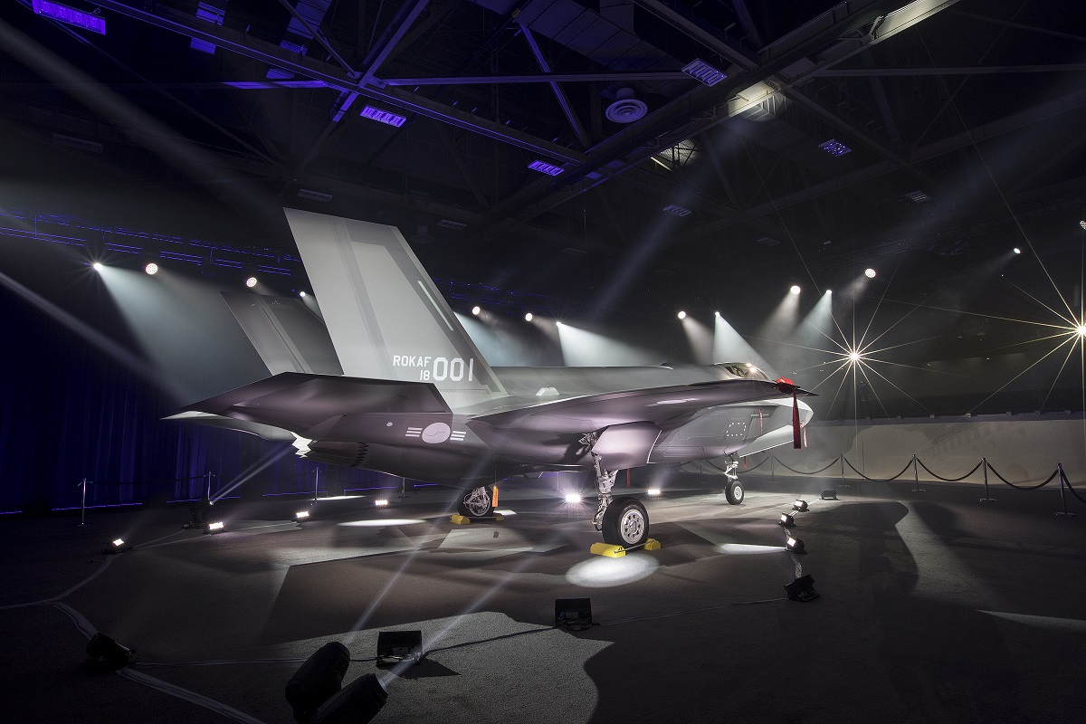 The first South Korean F-35A makes its public debut in a ceremony at a Lockheed Martin facility in Fort Worth, Texas, on March 28, 2018. (Alex Groves/Lockheed Martin)