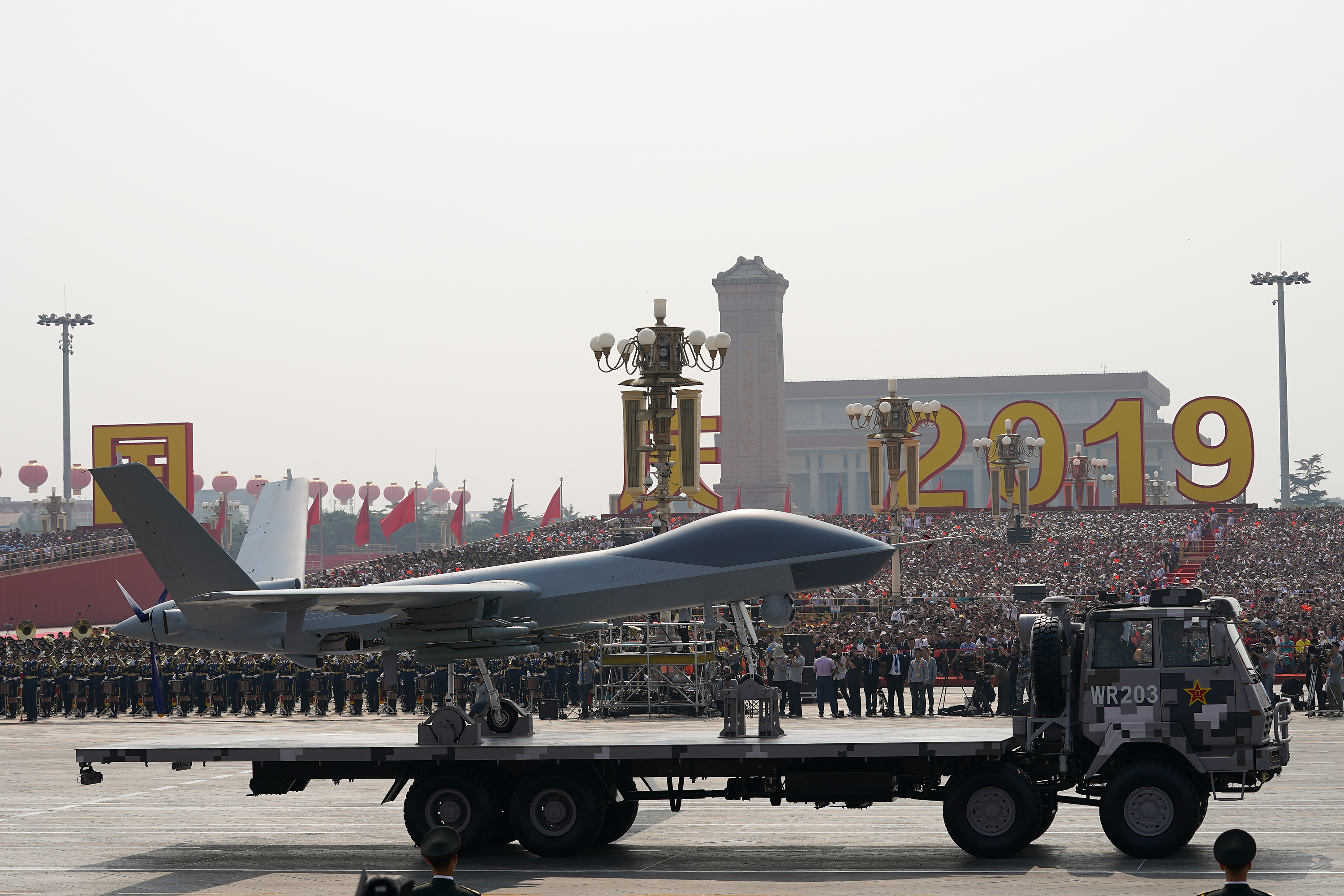 An UAV is shown during the military parade for the 70th anniversary of the establishment of the People's Republic of China. (Andrea Verdelli/Getty Images)