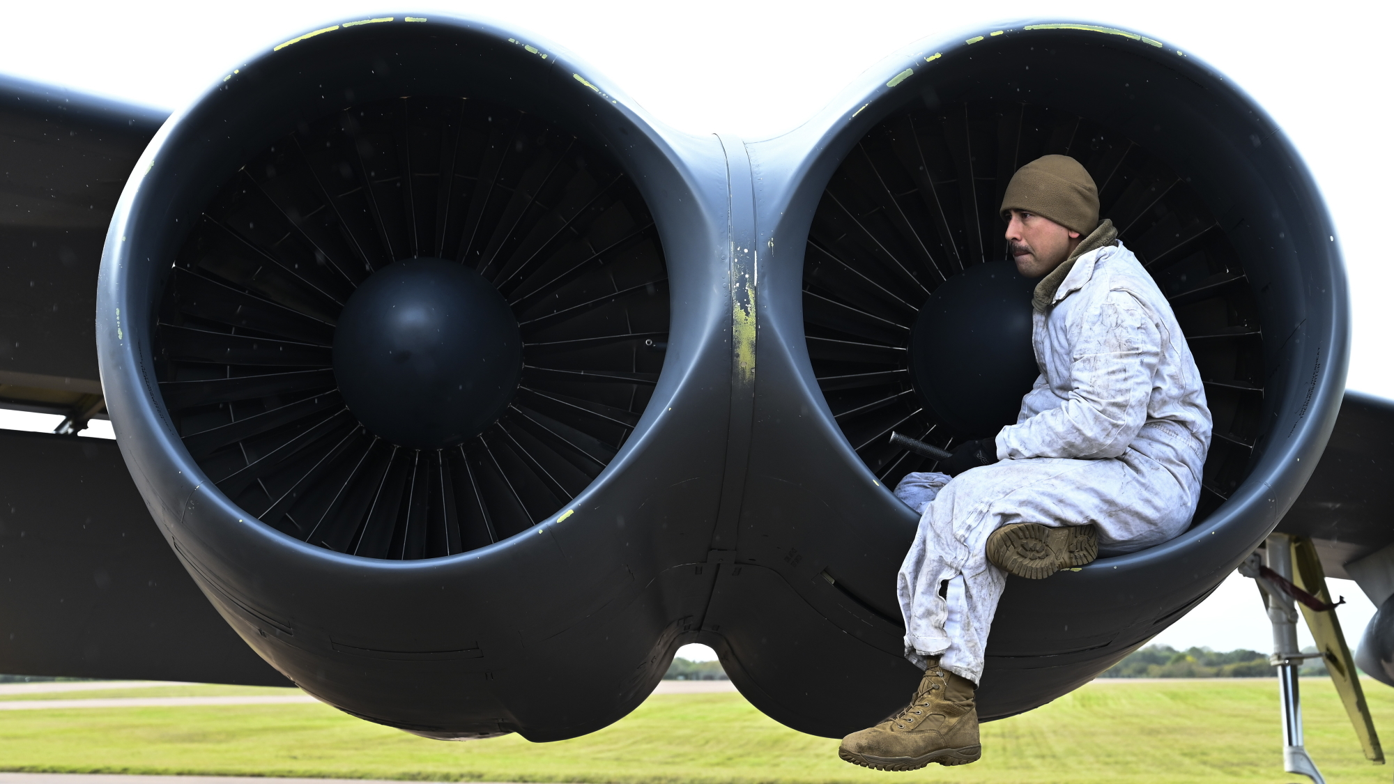 Staff Sgt. Stephen Zbinovec, 2nd Aircraft Maintenance Squadron, 96th Aircraft Maintenance Unit crew chief, inspects the engine of a U.S. Air Force B-52H Stratofortress at RAF Fairford, United Kingdom, Oct. 18, 2019. (Senior Airman Stuart Bright/Air Force)