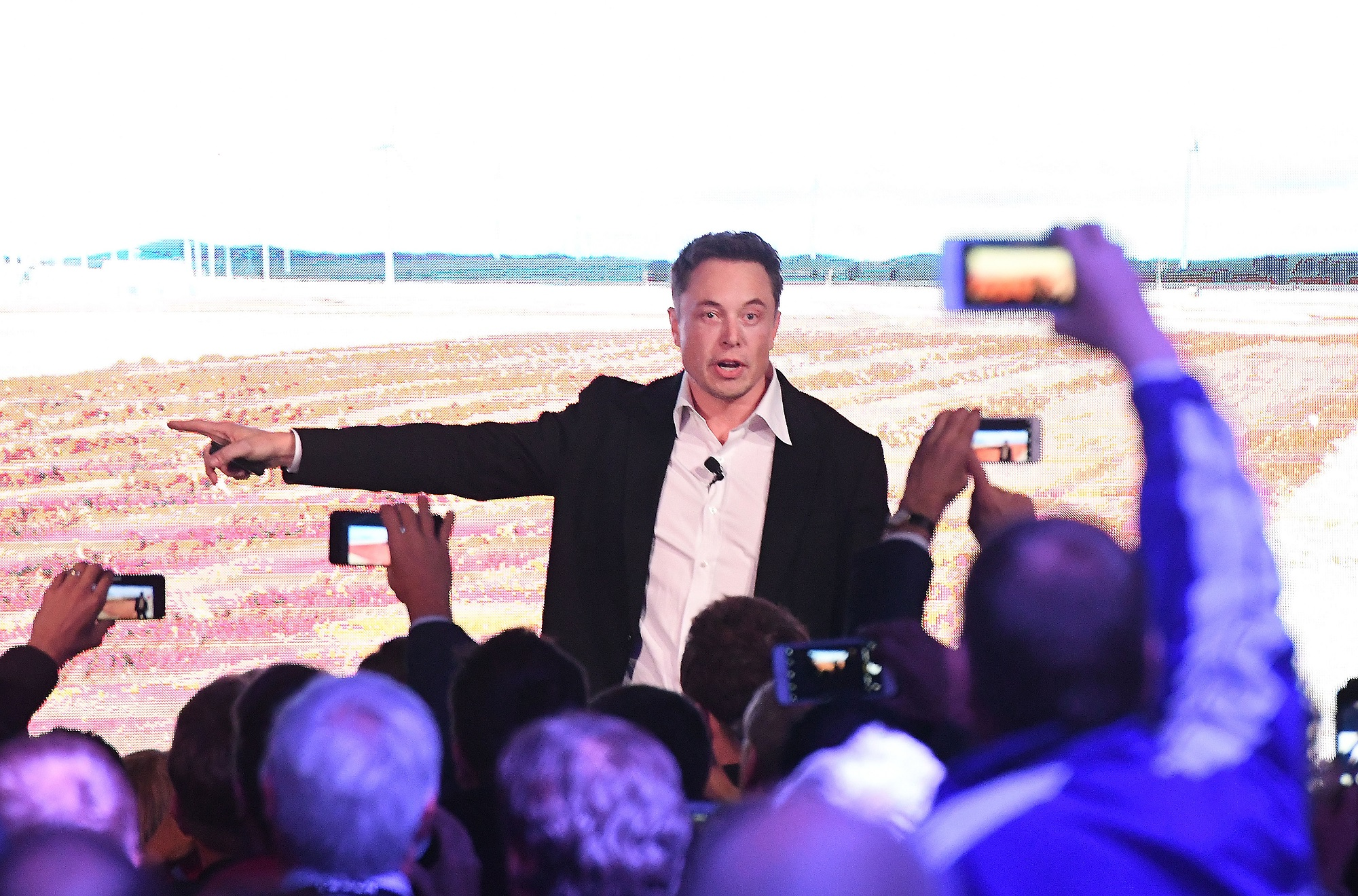 Elon Musk during a presentation at the Tesla Powerpack Launch Event at Hornsdale Wind Farm on Sept. 29, 2017 in Adelaide, Australia. Apparently the Tesla's terms and condition forgo Dr. Seuss. (Mark Brake/Getty Images)