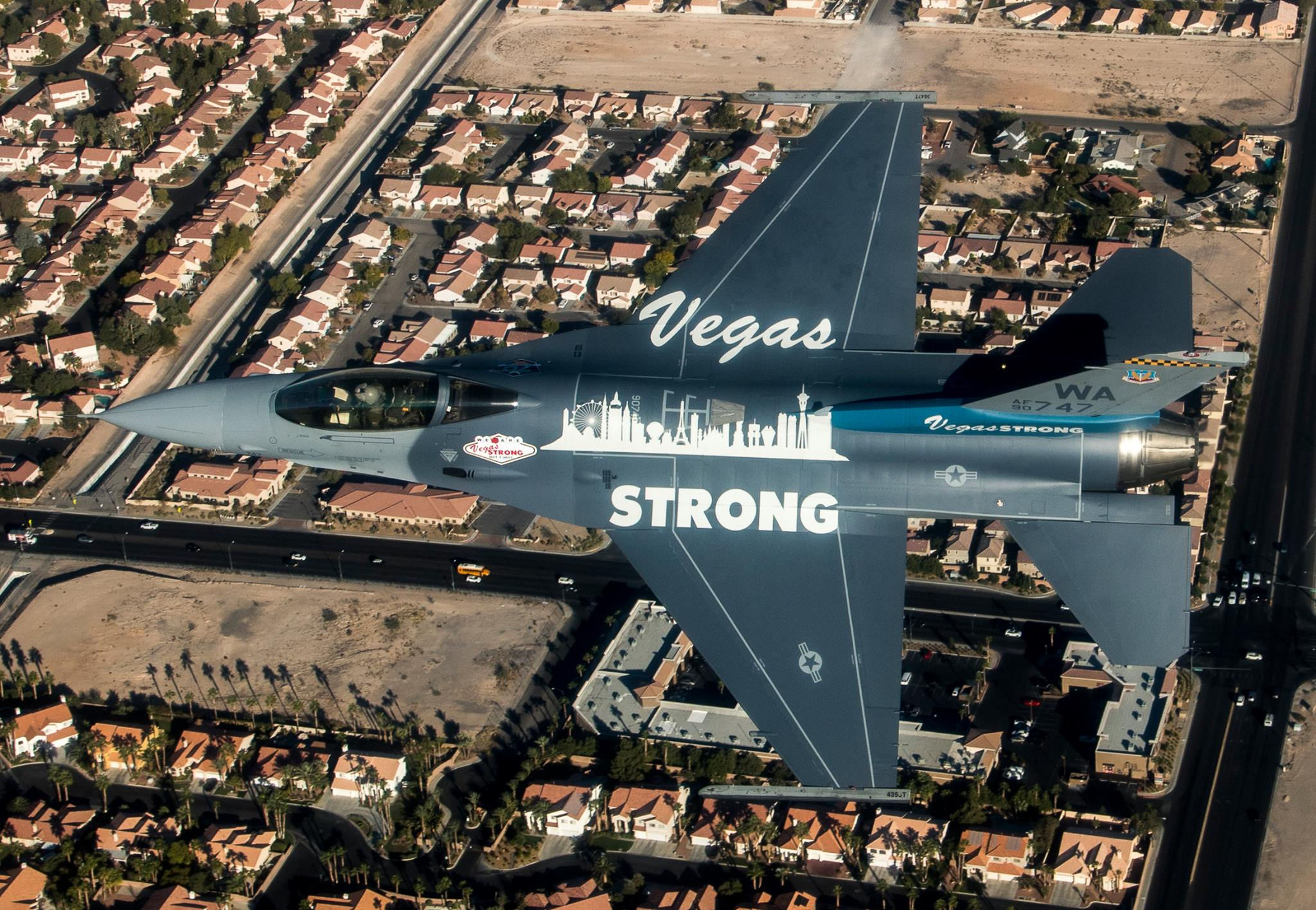 An F-16 Fighting Falcon fromNellis Air Force Base, Nev., soars over Las Vegas Nov. 9, 2017. The Fighting Falcon features a