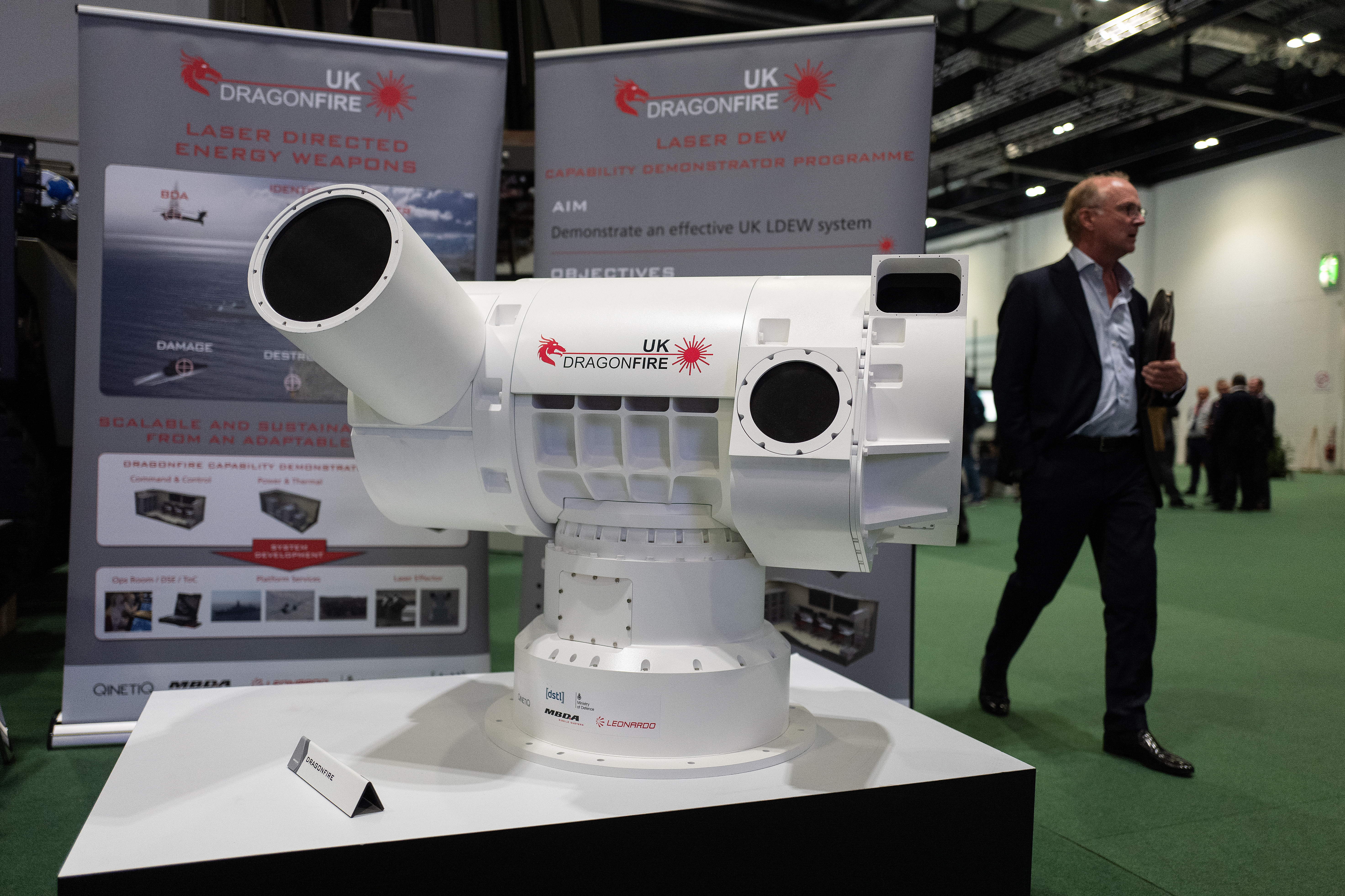 A U.K. Dragonfire laser-directed energy weapon is seen at the DSEI arms fair in London, England. (Leon Neal/Getty Images)