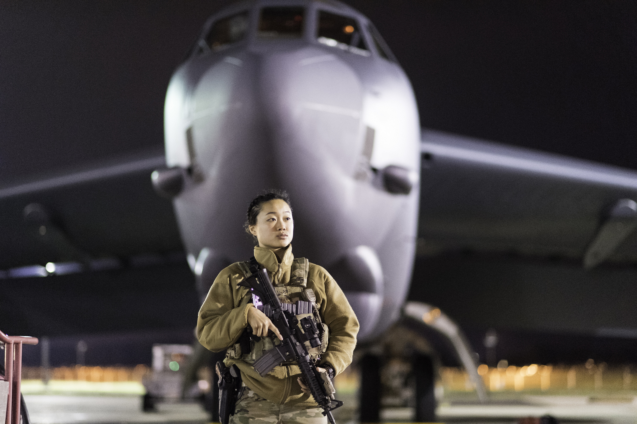 Airman 1st Class Chanelle Juhasz, 2nd Security Forces Squadron patrolman, guards a B-52 Stratofortress during Global Thunder 19 at Barksdale Air Force Base, La., Nov. 4, 2018. (Staff Sgt. Mozer O. Da Cunha/Air Force)