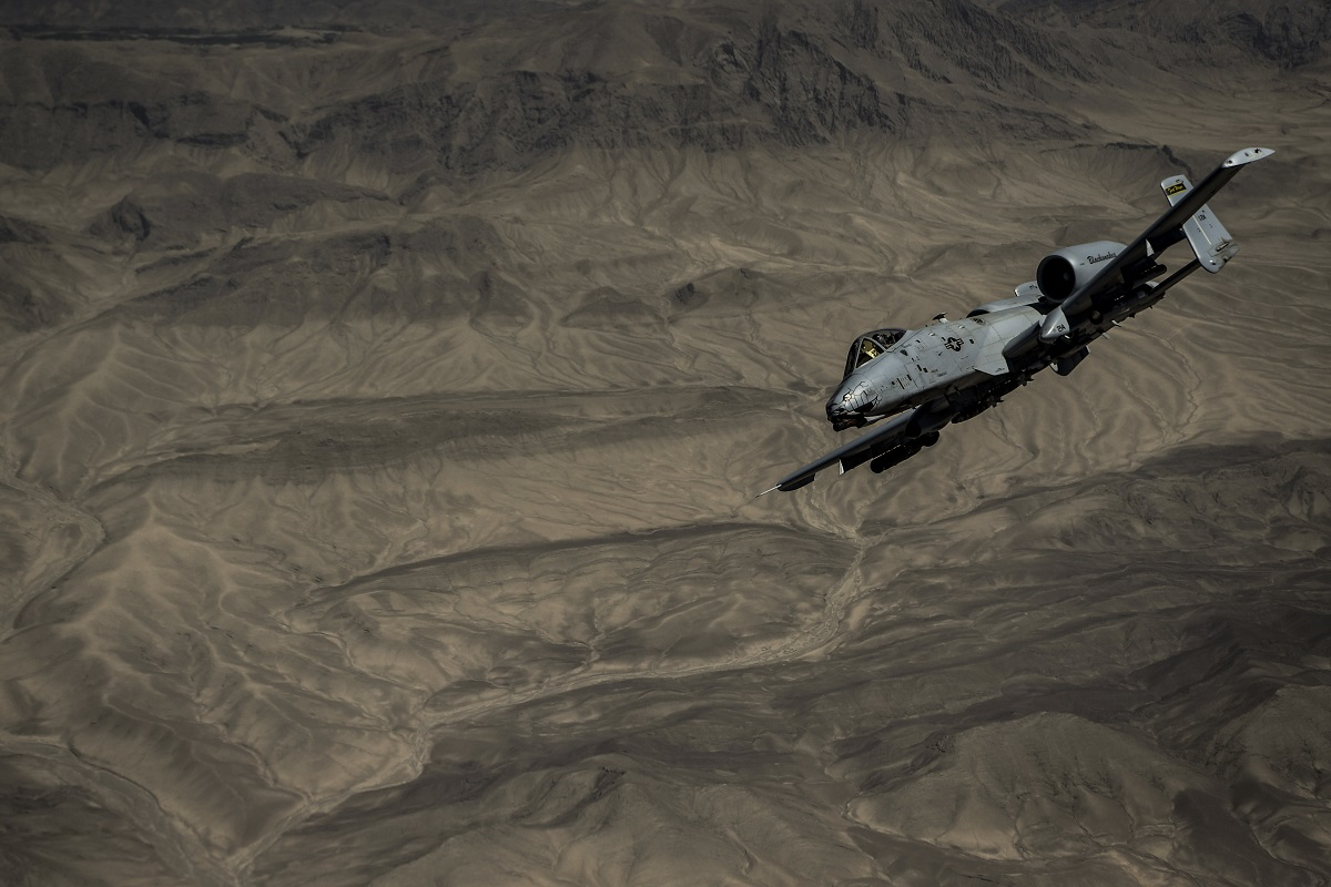 An Air Force A-10 Thunderbolt II flies a mission over Afghanistan on May 28, 2018. The next U.S. commander for the Afghanistan mission told lawmakers on Tuesday that he sees progress in the region, despite 17 years of questionable results so far. (Staff Sgt. Corey Hook/Air Force)