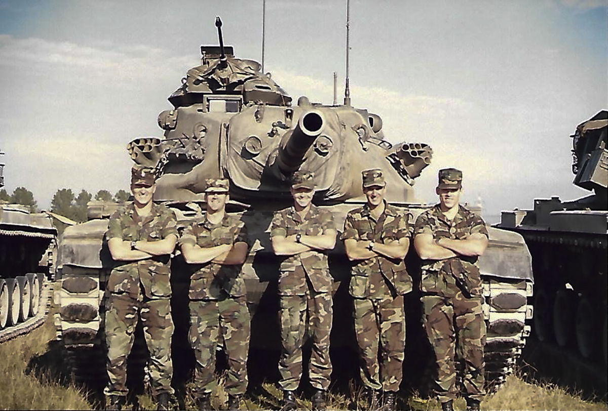 Capt. David Perkins, commander, B Company, 1-13th Armor, and his XO and Platoon Leaders in the summer of 1985. (Army)