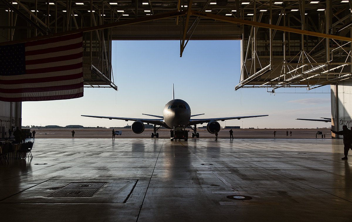 Airmen with the 22nd Aircraft Maintenance Squadron tow a KC-46A Pegasus into Hangar 1126 on Jan. 25, 2019, at McConnell Air Force Base, Kan. (Airman 1st Class Alan Ricker/U.S. Air Force)