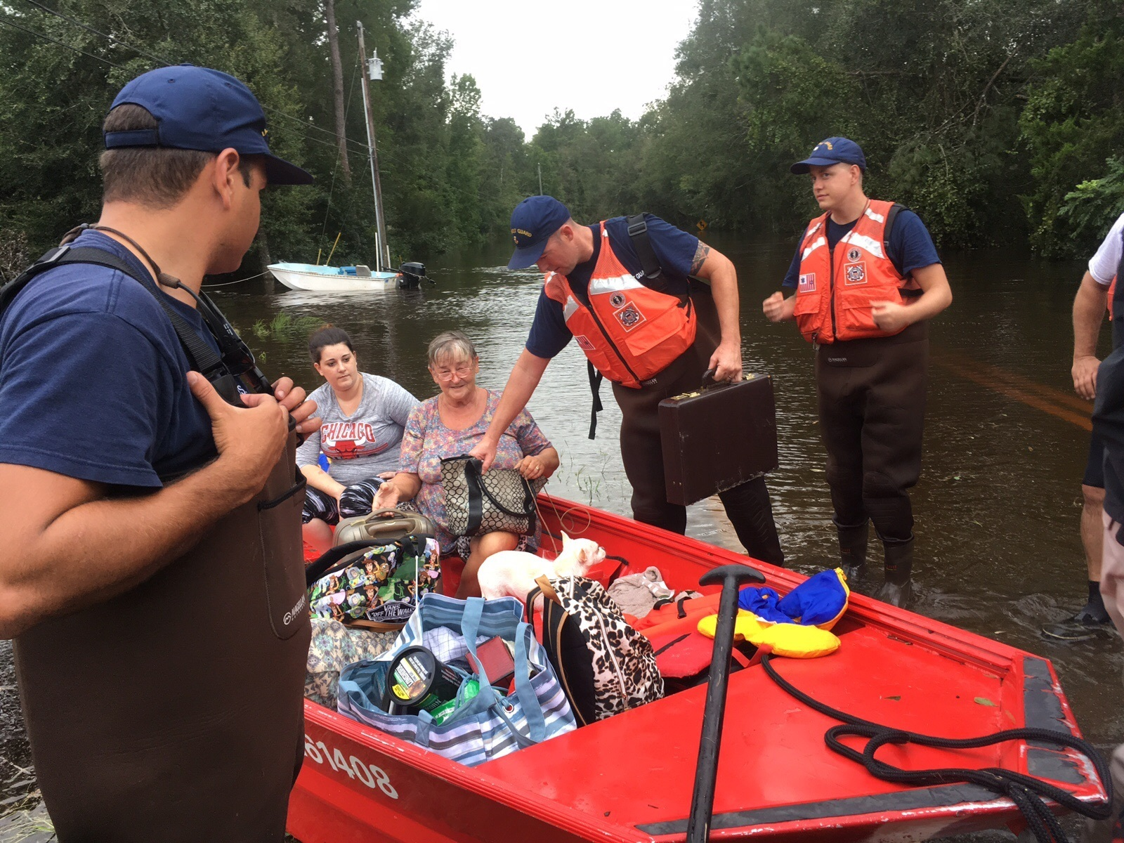 Coast Guard Flood Punt Teams conduct rescue operations in Jacksonville, Fla., Sept. 11, 2017. The Coast Guard has deployed assets and resources from across the country to assist in rescue operations for Hurricane Irma. (U.S. Coast Guard)