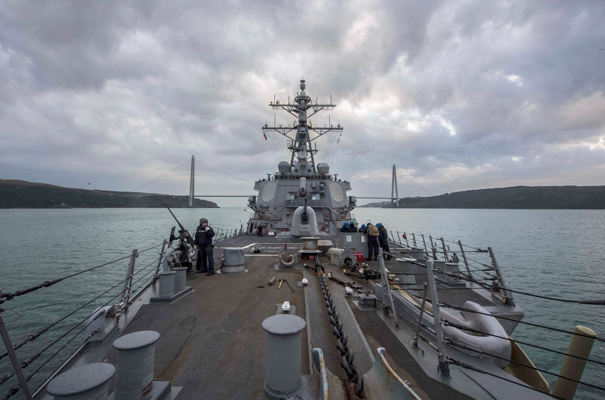 The Arleigh Burke-class guided-missile destroyer Carney transits the the Bosphorus Strait on her way back to the Mediterranean Sea after a two-week cruise in the Black Sea. (MC2 James R. Turner/Navy)
