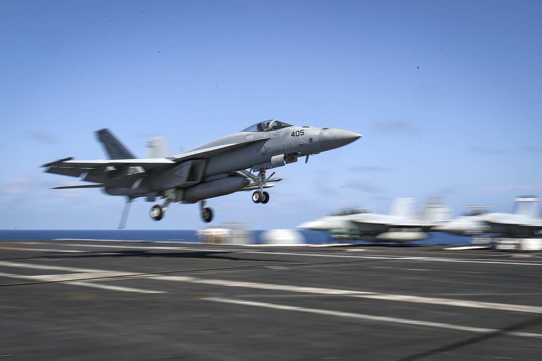 An F/A-18E Super Hornet lands on the flight deck of the Nimitz-class aircraft carrier USS Abraham Lincoln (CVN 72) on May 20, 2019, in the Arabian Sea. (Mass Communication Specialist 3rd Class Jeff Sherman/Navy)