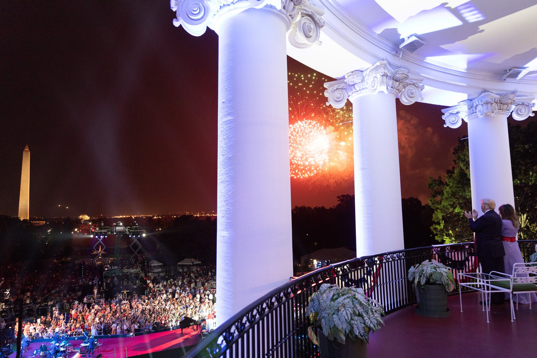 President Donald J. Trump and First Lady Melania Trump watch Fourth of July fireworks at the White House | July 4, 2018 (Official White House Photo/Shealah Craighead)