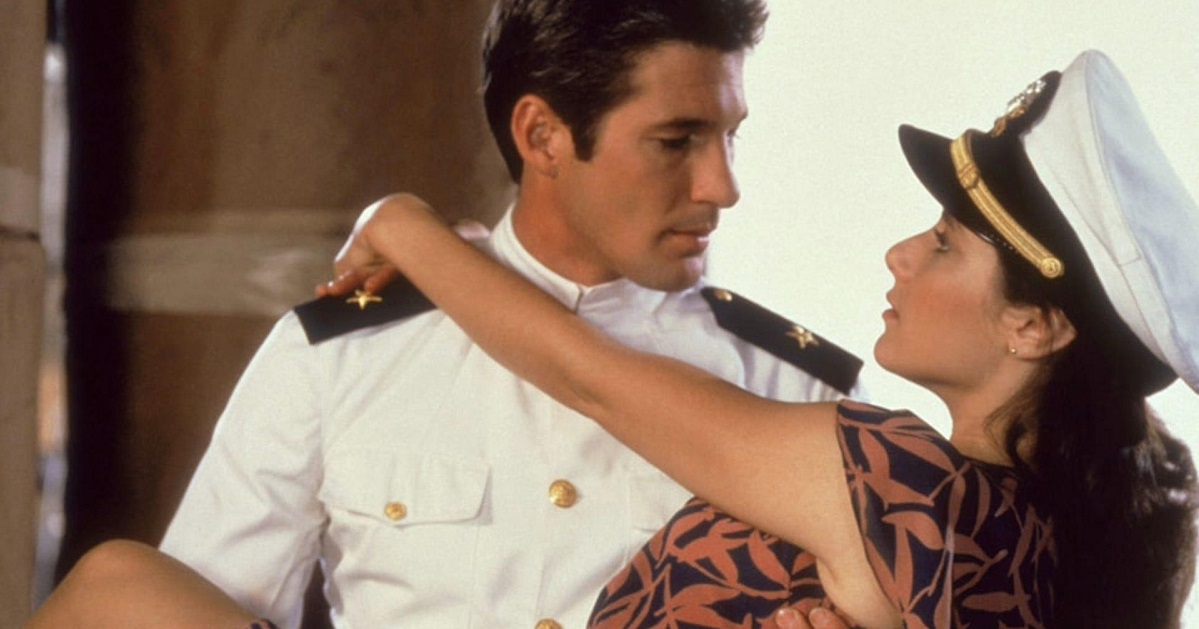 "Richard Gere and Debra Winger star in 1982's ""An Officer and a Gentleman."" Hollywood can reach Americans at a young age and shift cultural attitudes, the author writes. (Paramount Pictures)"