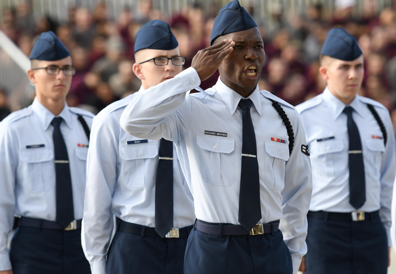 Airman 1st Class Michael Enkouang-Mekanda, 336th Training Squadron regulation drill team drillmaster, requests permission to enter the field of regulation drill competition during the 81st Training Group drill down at Keesler Air Force Base, Miss., Nov. 3, 2017. Airmen from the 81st TRG competed in the final quarterly open ranks inspection, regulation drill routine and freestyle drill routine. (Kemberly Groue/Air Force)