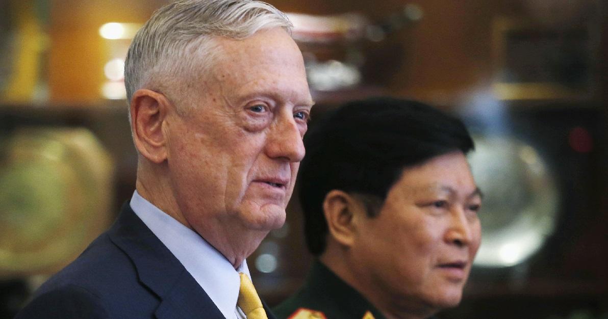 U.S. Secretary of Defense Jim Mattis, left, and Vietnam's Defense Minister Gen. Ngo Xuan Lich met in Ho Chi Minh City, Vietnam, Wednesday, Oct. 17, 2018. (Kham/Pool Photo via AP)