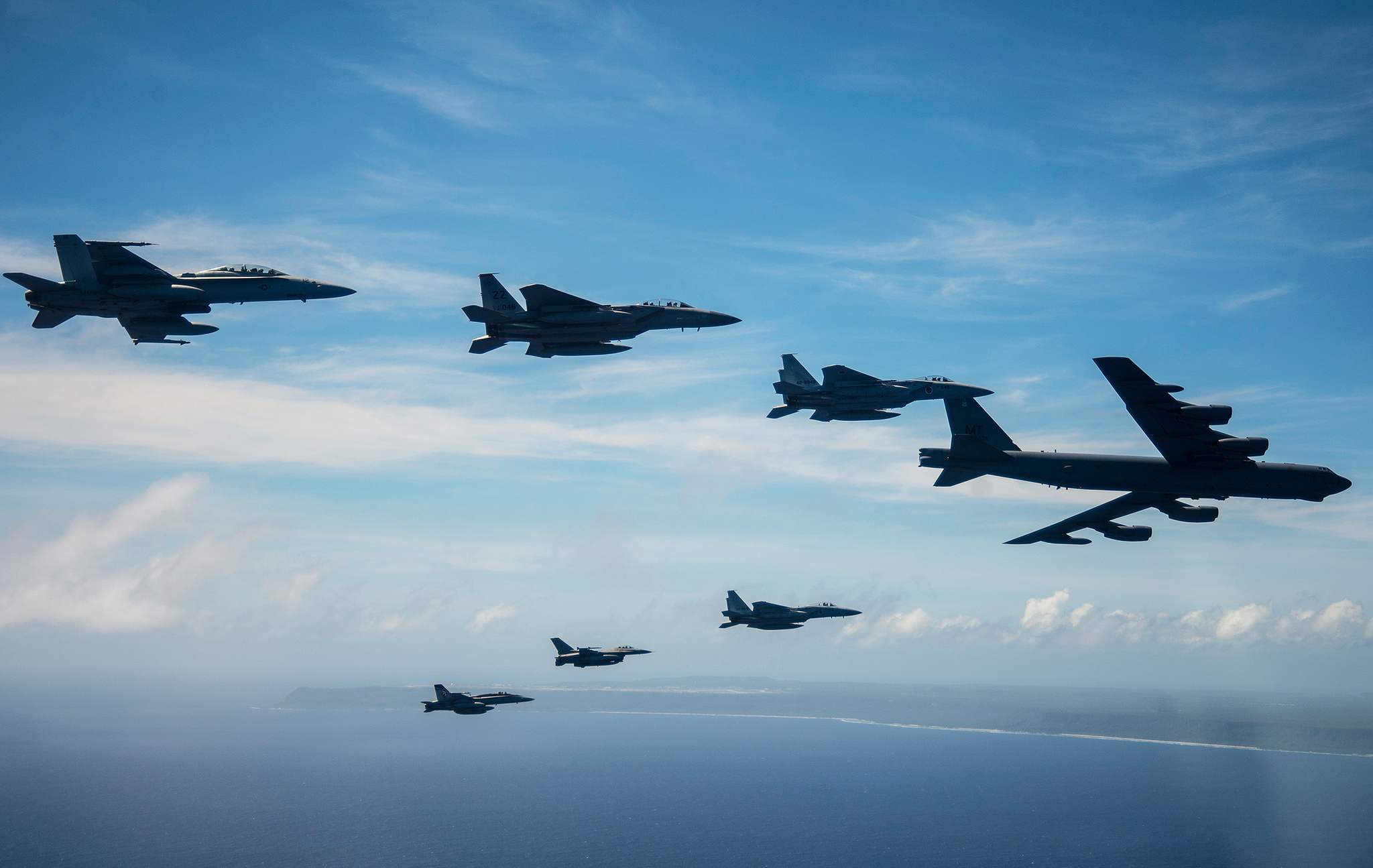 Aircraft from the United States, Australia and Japan participating in COPE North 2019 engage in a large show-of-force formation off the coast of Guam, on March 6, 2019. (Capt. Adam Engelhart/Air Force)