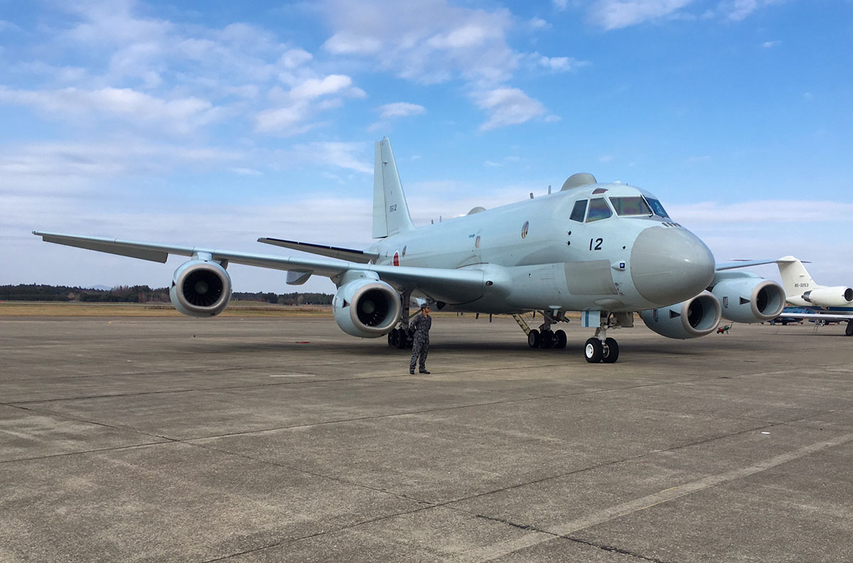 A Kawasaki P-1 anti-submarine aircraft, used by the Japan Maritime Self-Defense Force, was on the static display at a Hyakuri air show. Japan is continuing its marketing effort for the aircraft, although it faces a tough challenge at the upper end of this market from the established Boeing P-8 Poseidon. (Mike Yeo/Staff)
