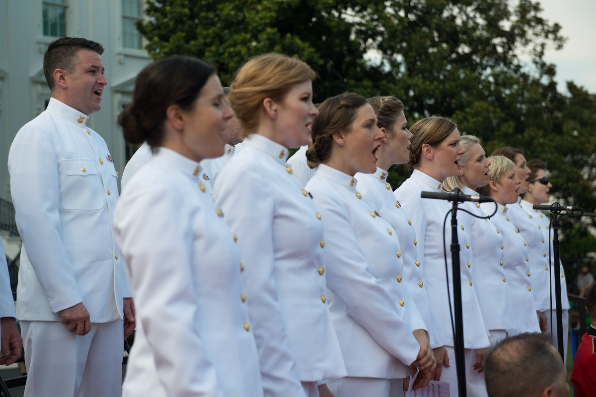 Members of the U.S. Navy Band Sea Chanters rehearse for the live broadcast of the annual Fourth of July celebration on the South Lawn of the White House. (U.S. Navy/Musician 1st Class David Aspinwall)