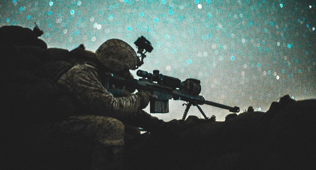 A U.S. Marine Corps sniper with Task Force Southwest sights in with a M107 .50-caliber Special Applications Scoped Rifle during a security post for an advising mission with 1st Brigade, Afghan National Army (ANA) 215th Corps as they conduct Operation Maiwand 12 at Camp Shorserack, Afghanistan, March 13, 2018. (Sgt. Conner Robbins/Marine Corps)