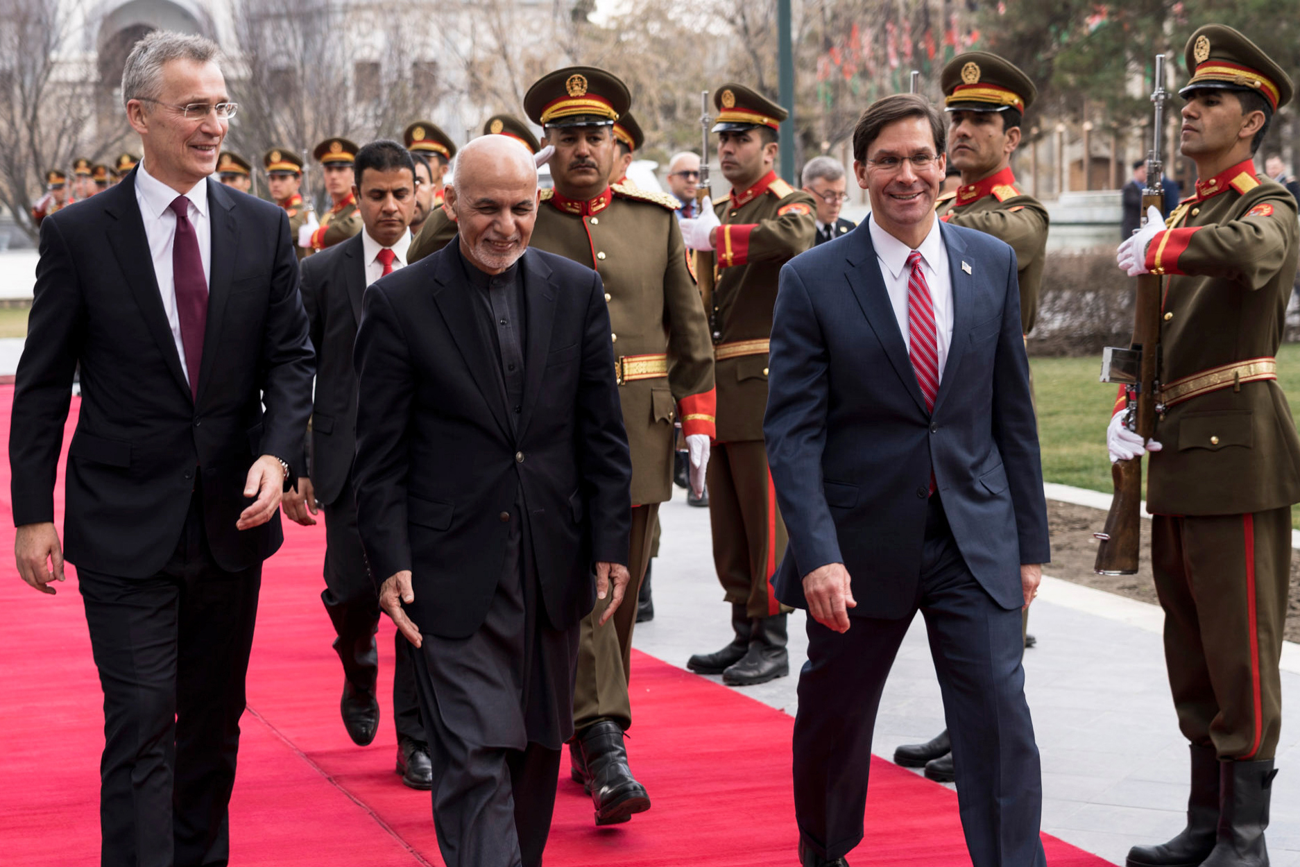 From left: NATO Secretary General Jens Stoltenberg, Afghanistan President Ashraf Ghani and U.S. Secretary of Defense Mark Esper prepare to speak in Kabul on Feb. 29, 2020, regarding a joint declaration that could result in all foreign troops leaving Afghanistan within 14 months. (NATO)