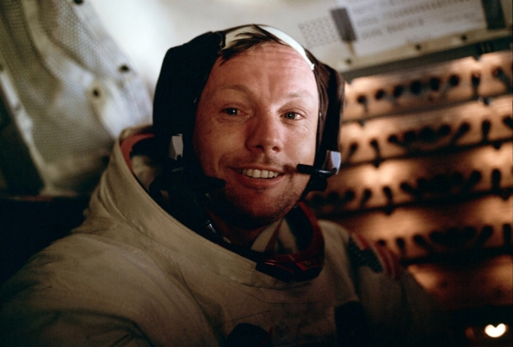 Astronaut Neil A. Armstrong, Apollo 11 commander, inside the Lunar Module as it rests on the lunar surface. (NASA)