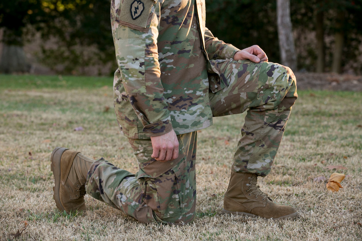 The Army's new Hot Weather Uniform has articulated knees, which means the knees on the pants have several folds of fabric around it give the knee more space to maneuver. (Alan Lessig/Staff)