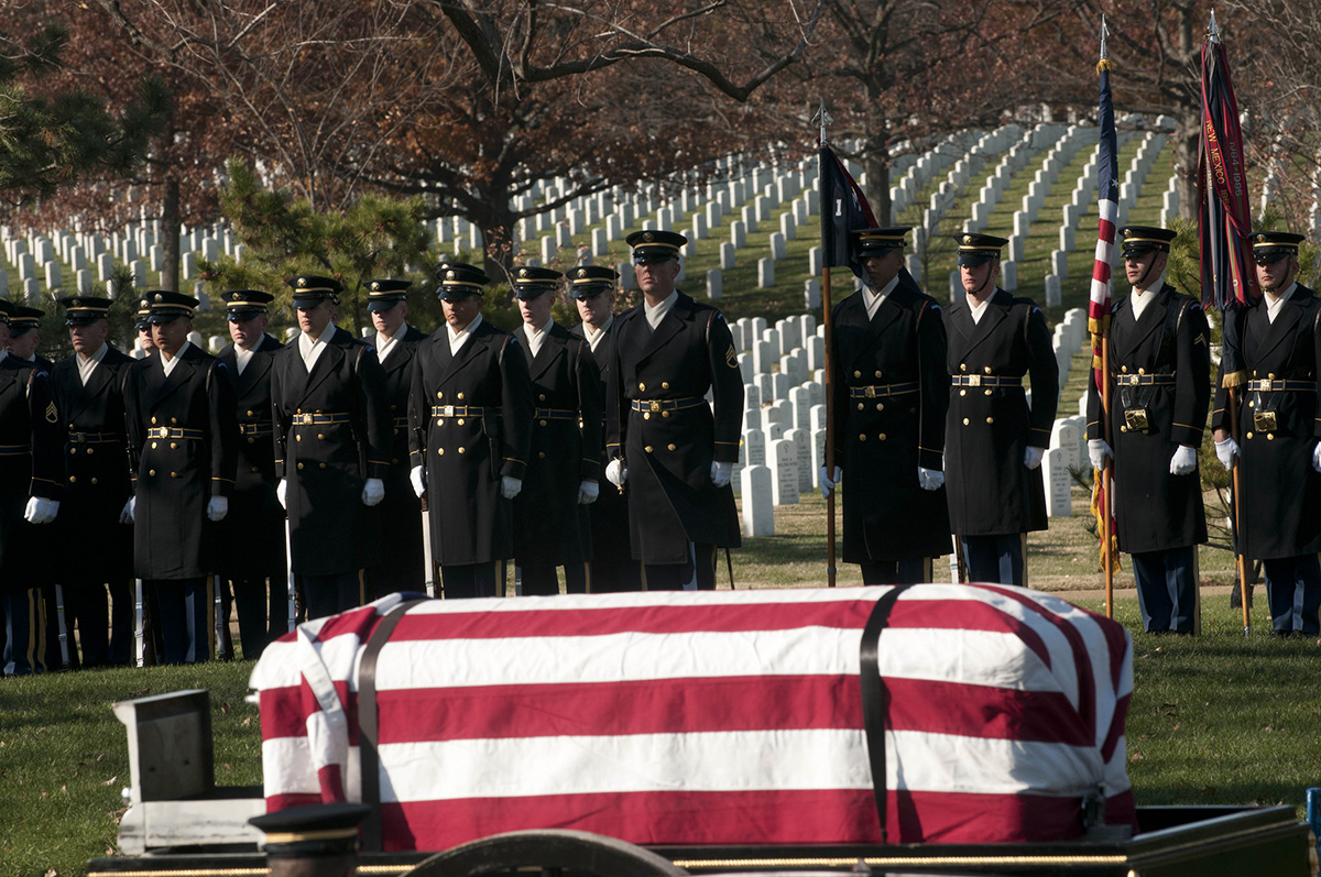 Soldiers from the 3d U.S. Infantry Regiment (The Old Guard) provided ceremonial support during a Nov. 20, 2014, burial service for Pvt. Miguel A. Vera at Arlington National Cemetery, Va. Vara, who was killed during the Korean War, was awarded the Medal of Honor, March 18, 2014, during a White House ceremony. The Defense POW/MIA Accounting Agency has announced North Korea may have as many as 200 additional sets of remains of U.S. service members it has said it will help repatriate. (Staff Sgt. Luisito Brooks/Army)