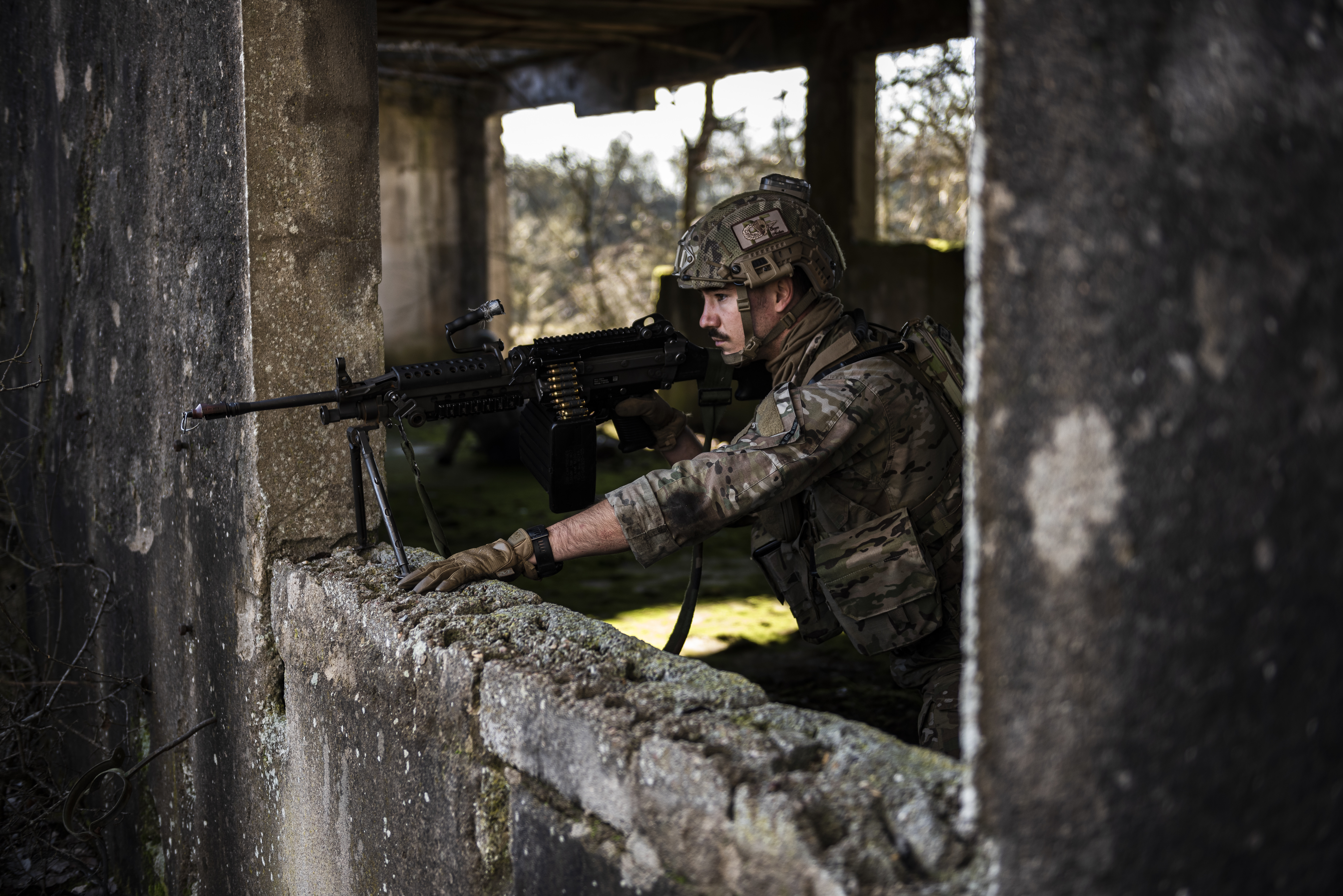 Staff Sgt. Dwight Stalter, 435th Security Forces Squadron contingency response team leader, holds security during exercise Frozen Defender in Grostenquin, France, Jan. 16, 2020. (Staff Sgt. Devin Nothstine/Air Force)