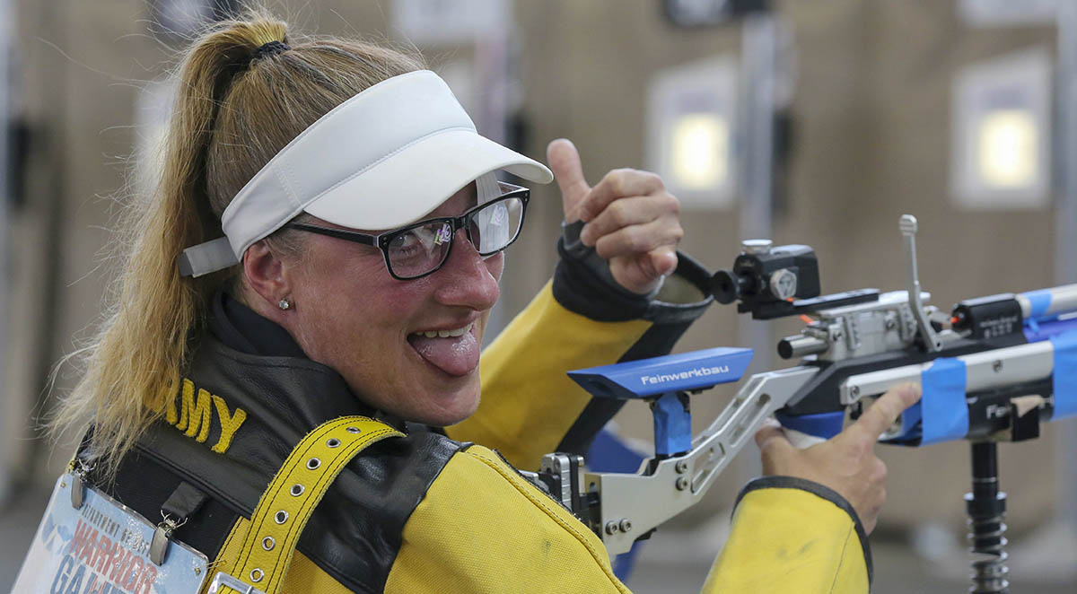 U.S. Army Sgt. 1st Class Heather Moran, a Team Army competitor, gives the thumbs up during shooting competition at the DoD Warrior Games in Colorado Springs, Colorado, June 2, 2018. (Staff Sgt. Kalie Frantz/Army)