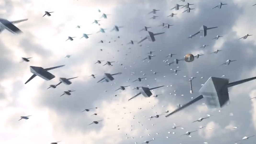 Concept art from the Air Force Research Laboratory shows a drone swarm that the service could potentially use. The U.S. and India plan to develop small UAVs that can be launched from aircraft. (Air Force Research Laboratory)