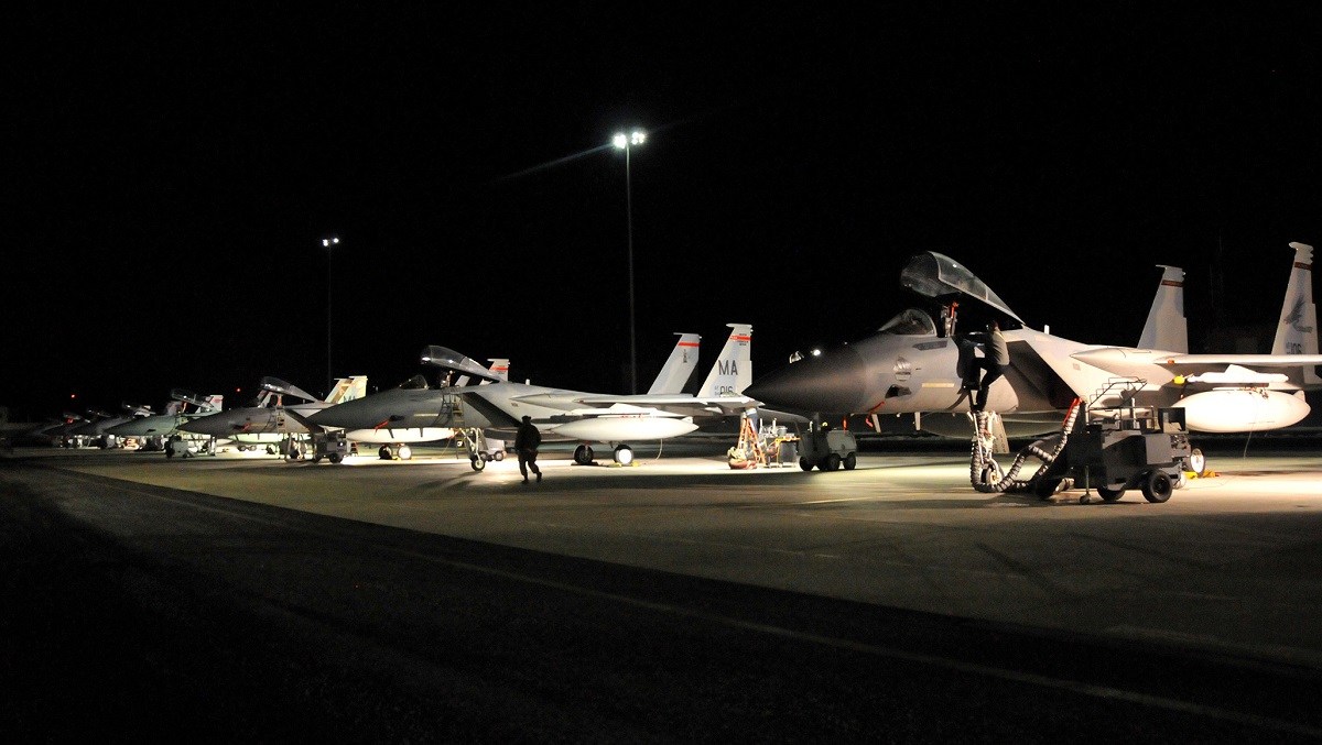 The 104th Fighter Wing of the Massachusetts Air National Guard launches the 142nd Fighter Wing F-15s in March 2018 as a part of a Theater Security Package in Support of the Atlantic Resolve. The aircraft will deploy to multiple locations throughout the region, participating in exercises and training with our allies and partners. (Tech. Sgt. Lindsey Sarah Watson-Kirwin/U.S. Air National Guard)