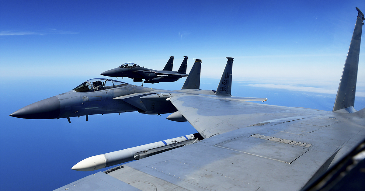 Air Force F-15 Eagles conduct aerial operations over the North Sea, June 27, 2019, during Point Blank 19-2, a multinational training exercise supporting U.S., U.K. and French national interests. (Tech. Sgt. Matthew Plew/Air Force)