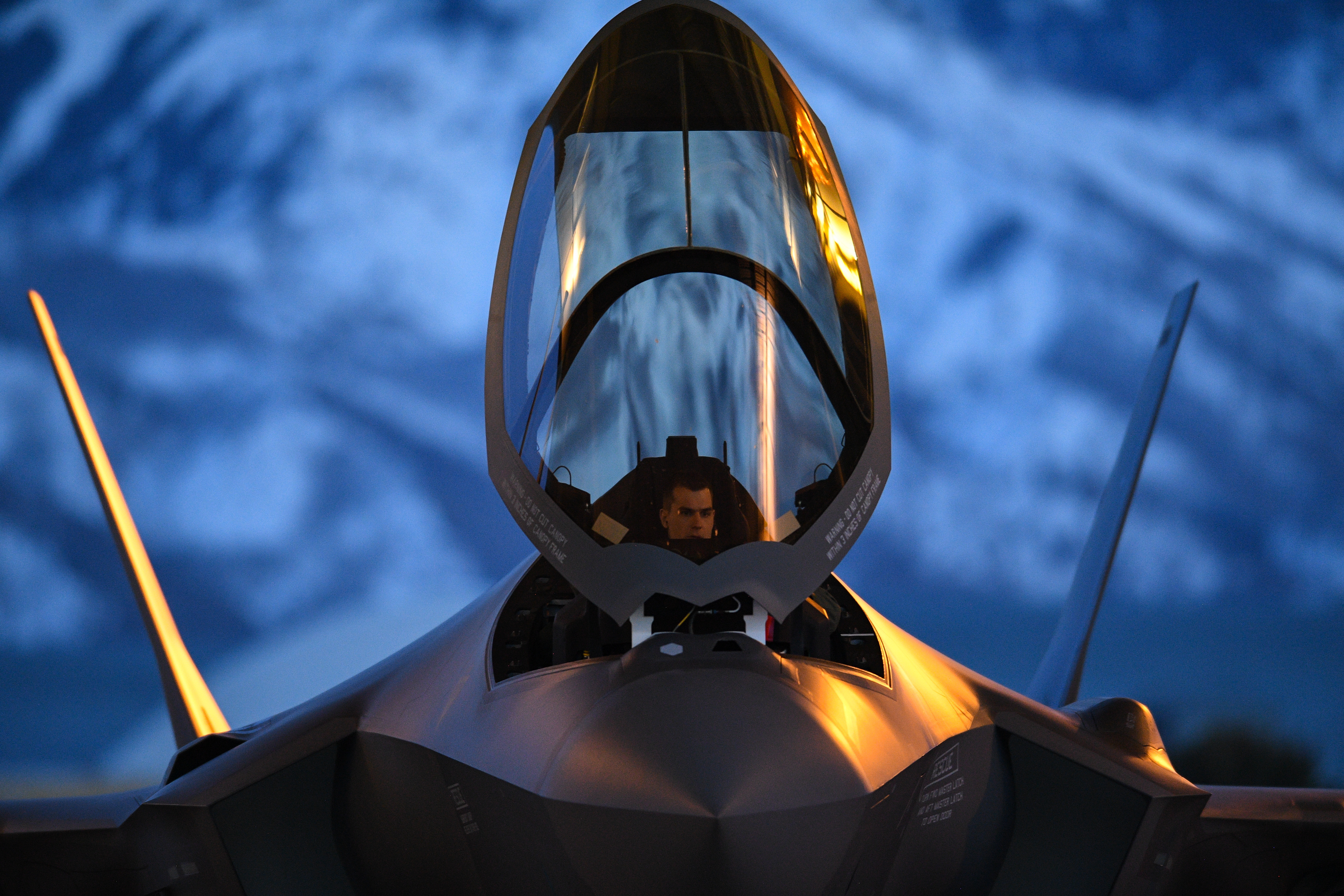 A pilot from the 388th Fighter Wing's 421st Fighter Squadron prepares to launch an F-35A during night flying operations at Hill Air Force Base, Utah, March 26, 2019. The 388th Fighter Wing is the Air Force's first combat-coded F-35A wing. (R. Nial Bradshaw/U.S. Air Force)