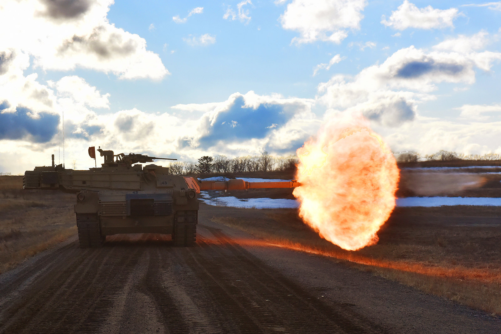 Army tank crews engage targets downrange April 3, 2019, during gunnery training at Camp Ripley, Minn. (Army)