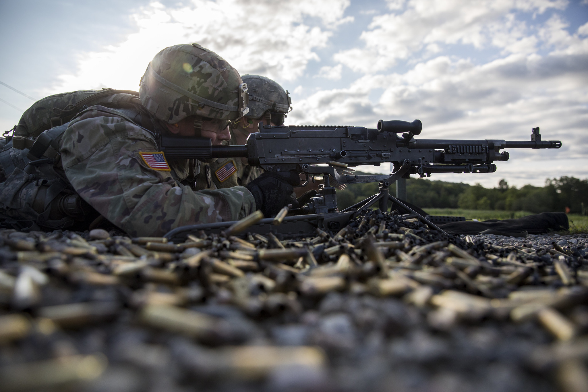 New Bravo Company cadets learn how to properly handle a M240B machine gun as part of their Cadet Basic Training at Camp Buckner, N.Y., Aug. 1, 2019. (Matthew Moeller/Army)