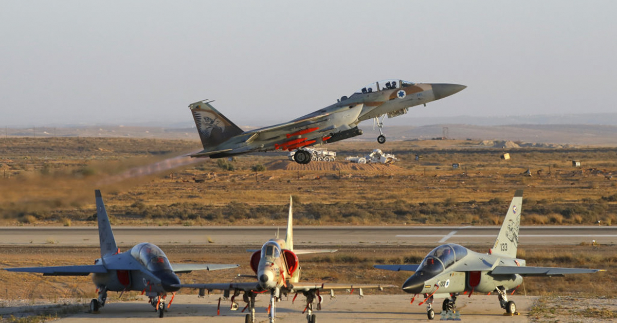 An Israeli F-15 I fighter jet takes off during an air show at the graduation ceremony of Israeli Air Force pilots at the Hatzerim base in the Negev desert, near the southern Israeli city of Beer Sheva, on June 27, 2019. (JACK GUEZ/AFP/Getty Images)