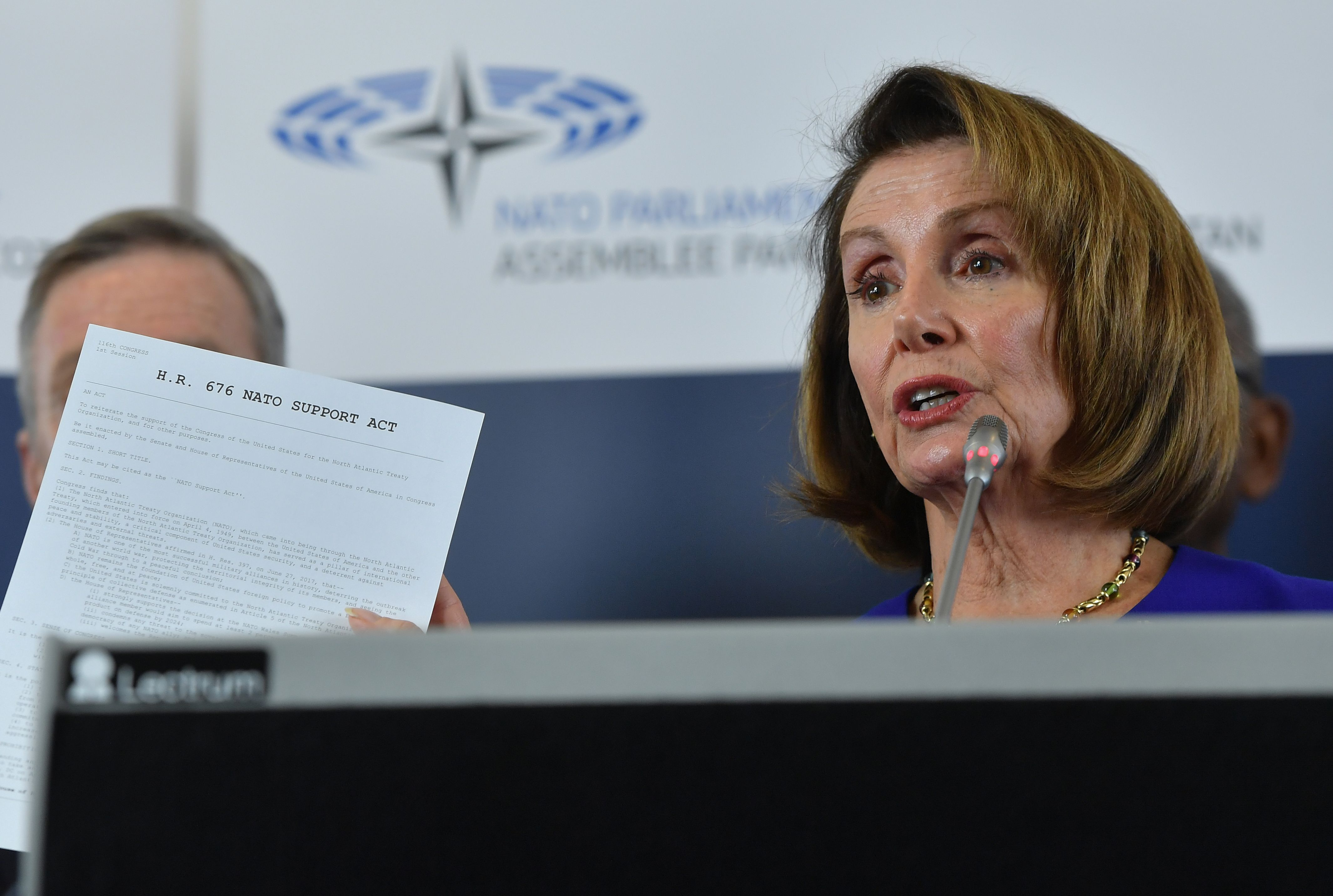 US Speaker of the House Nancy Pelosi addresses a press conference after leading a high-level US Congressional delegation in participating in a NATO parliamentary assembly in Brussels on February 19, 2019. (Photo by EMMANUEL DUNAND / AFP)