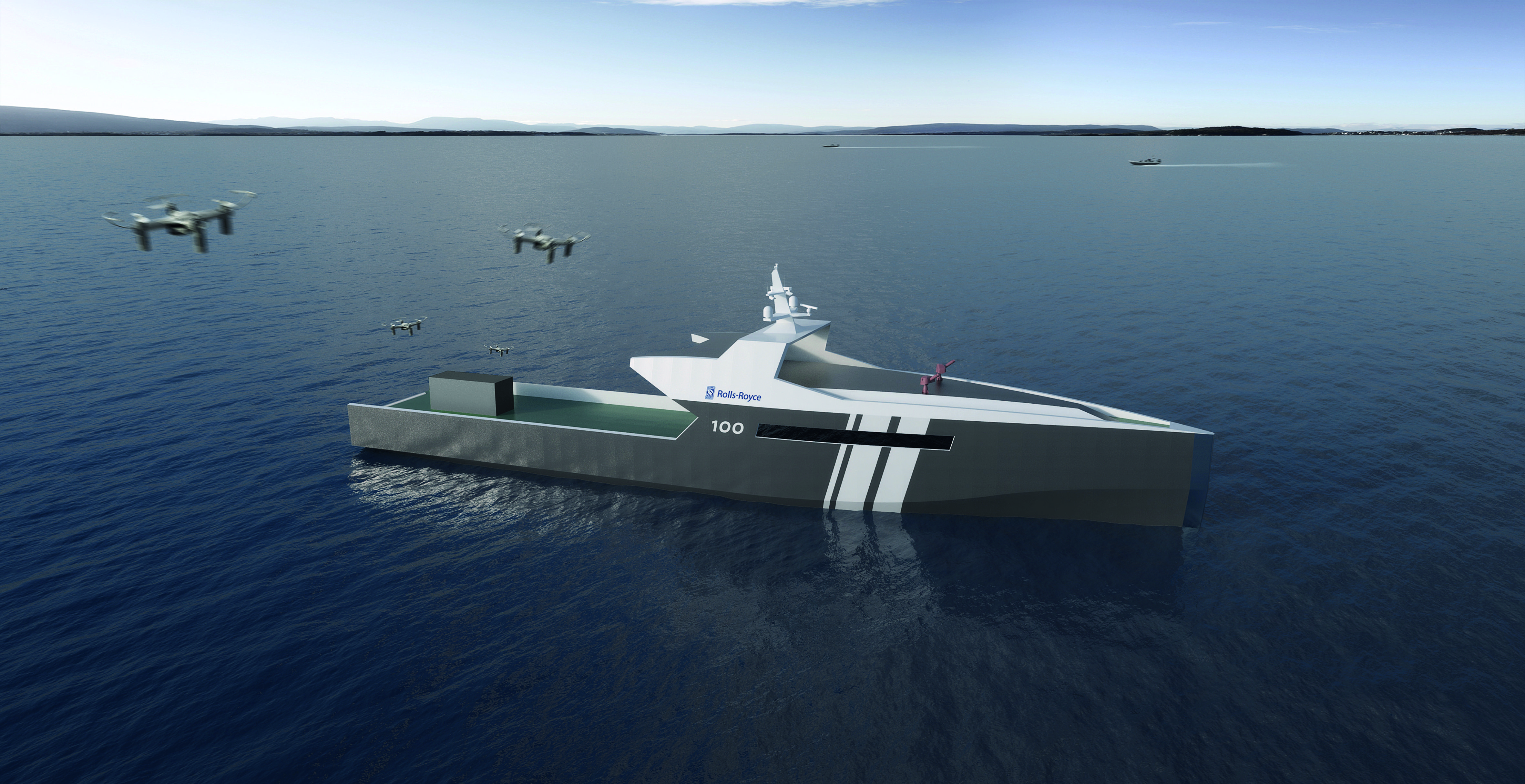 Rolls-Royce has developed unmanned naval technology to perform single-role missions (such as deploying drones) assisted by sensors and artificial intelligence as a route to reducing the through-life costs associated with crew. (Rolls-Royce)