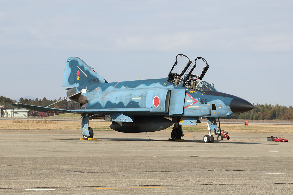Hyakuri in Ibaraki prefecture, north of Tokyo, is home to all three squadrons of Japan's Phantoms. In addition to the F-4EJ Kai fighter, the JASDF also operates the RF-4E reconnaissance version with 501 Squadron. This squadron will retire its Phantoms in fiscal 2020, which ends for Japan on March 31, 2021. (Mike Yeo/Staff)