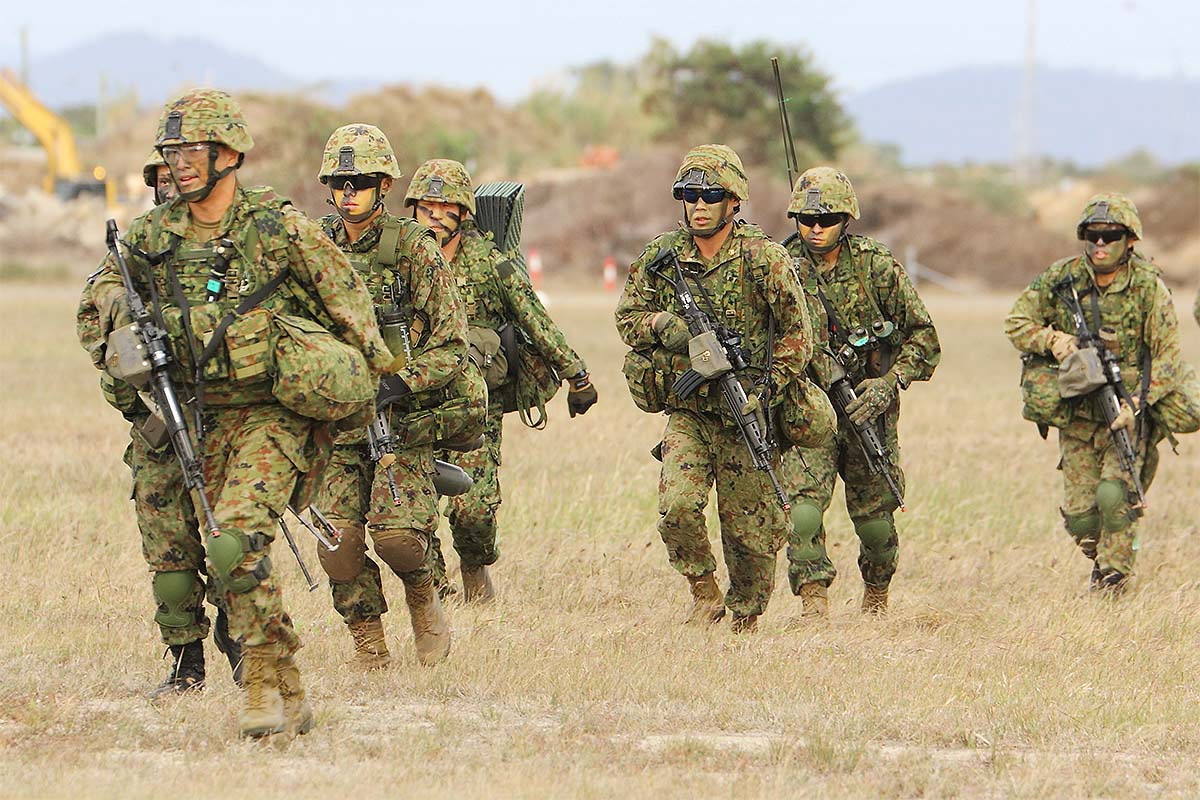 The Japan Ground Self-Defense Force troops taking part in the Talisman Sabre exercise were from the newly formed Amphibious Rapid Deployment Brigade, which was raised for the defense of Japan's remote southern islands that include the Senkaku group, whose ownership is disputed by China. (Mike Yeo/Staff)