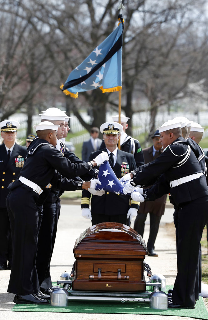 The flag is folded during burial services for Capt. Thomas J. Hudner Jr., a naval aviator and Medal of Honor recipient from Concord, Mass., at Arlington National Cemetery Wednesday, April 4, 2018, in Arlington, Va. Hudner earned the Medal of Honor for his actions in the Battle of the Chosin Reservoir during the Korean War. (Alex Brandon/AP)