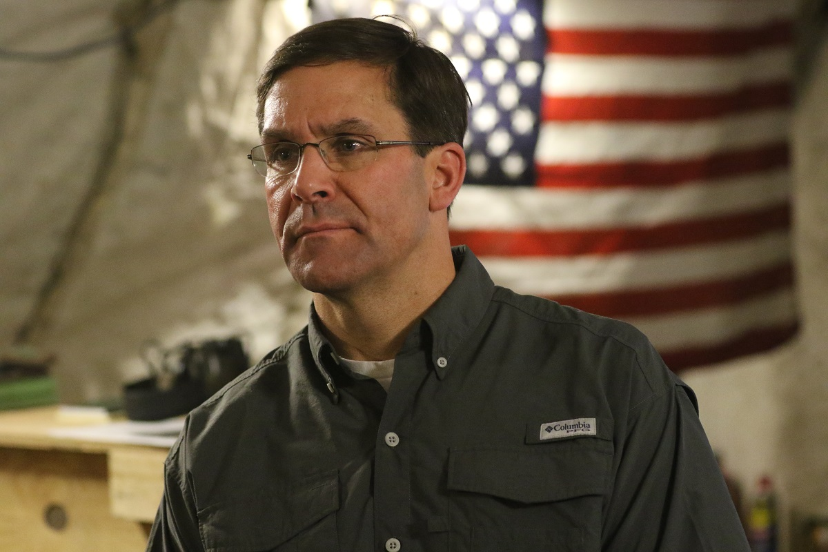 Secretary of the Army Mark T. Esper visits soldiers at Tactical Base Gamberi in Afghanistan on June 27, 2018.