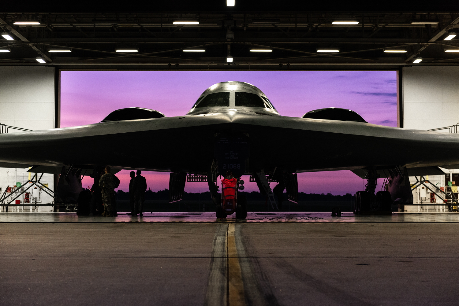 A B-2 Spirit aircraft is prepped for launch July 17, 2019, at Whiteman Air Force Base, Mo. Whiteman AFB is celebrating the 30th anniversary of the inaugural flight of the B-2 in 1989. (Senior Airman Thomas M. Barley/Air Force)