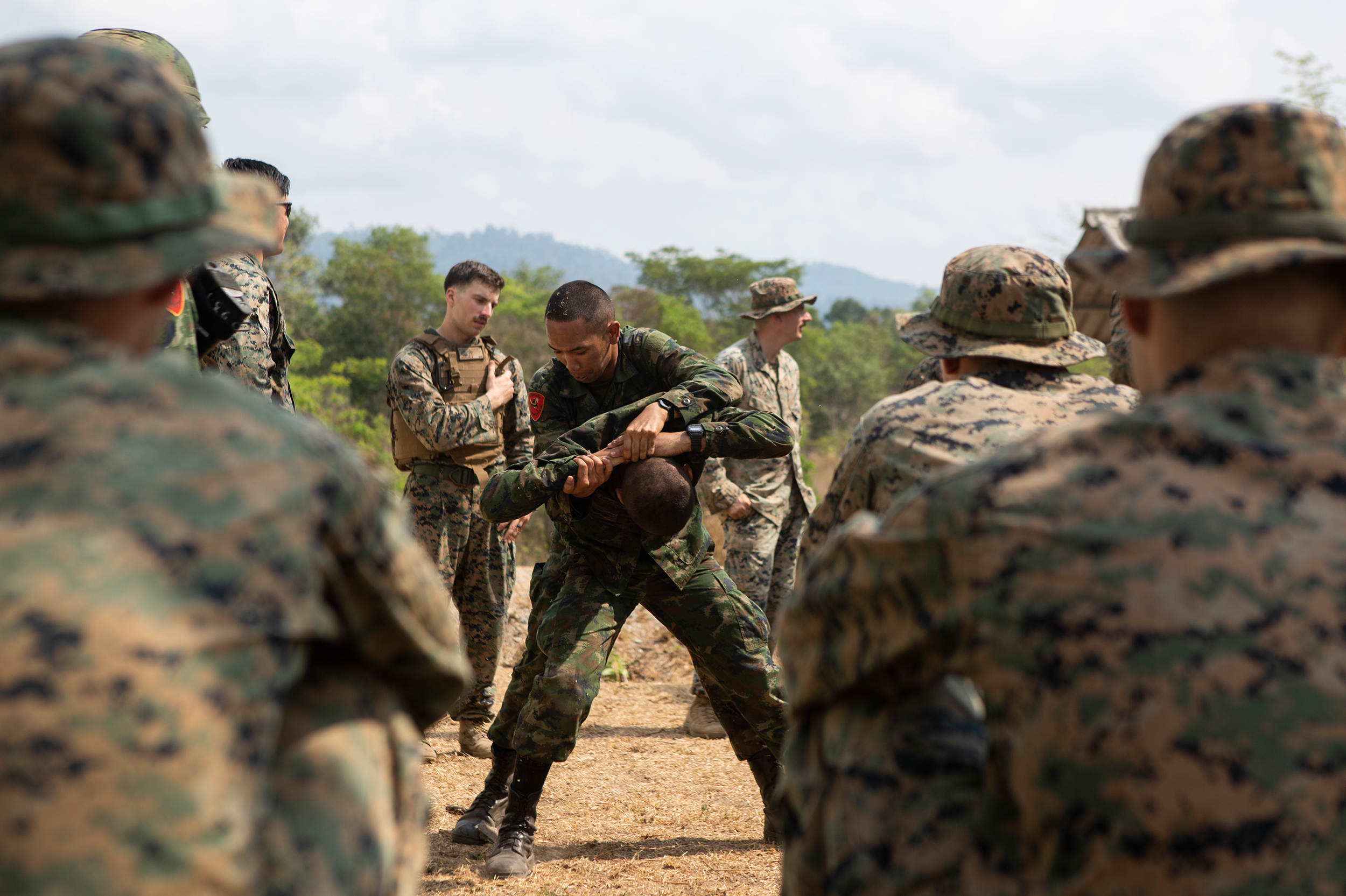 Royal Thai Marines practice detaining a simulated enemy while participating in urban operations training during exercise Cobra Gold 2020 at Ban Chan Khrem, Chanthaburi, Kingdom of Thailand, March 3, 2020. (Lance Cpl. Hannah Hall/Marine Corps)
