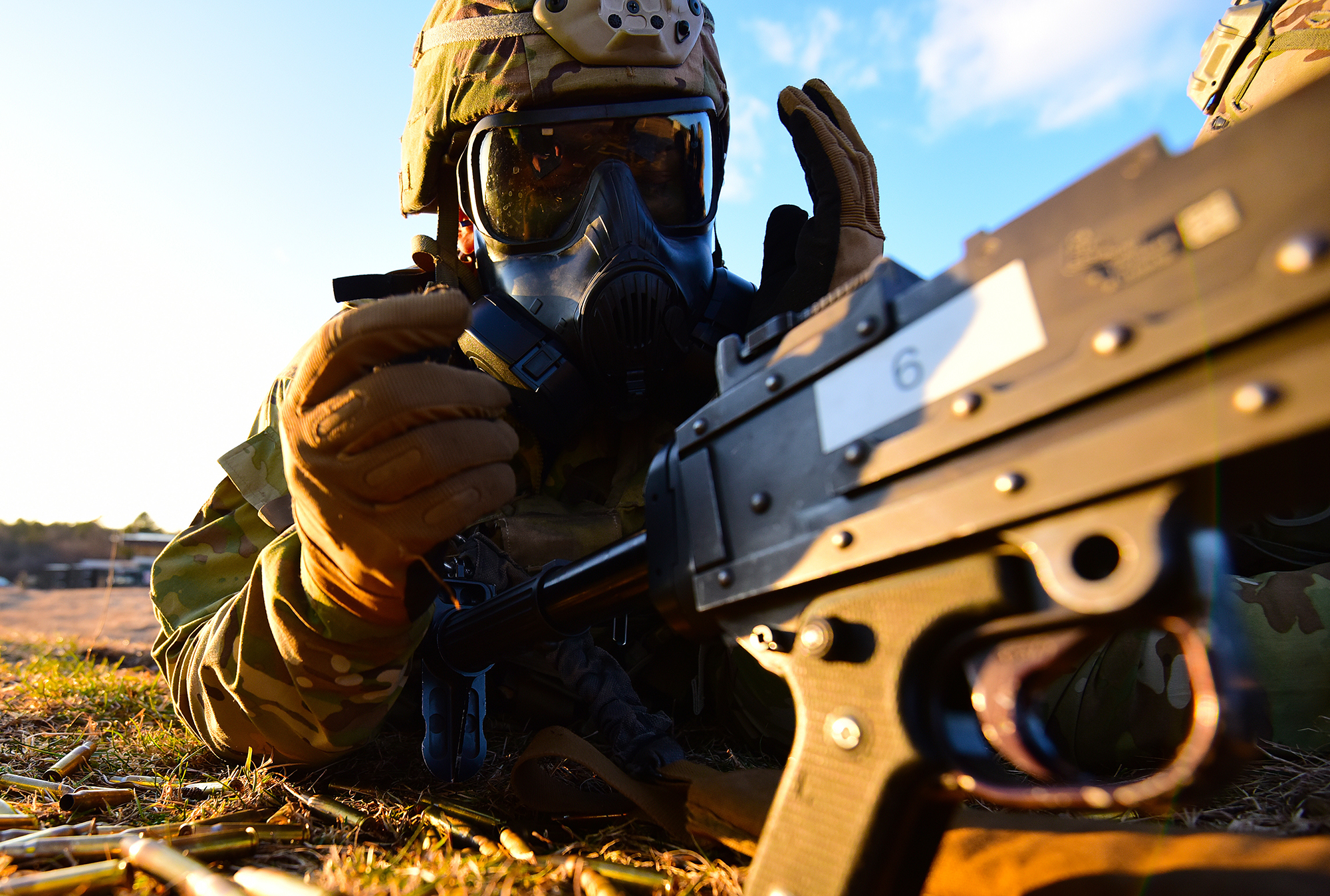 A U.S. Army paratrooper assigned to the 173rd Brigade Support Battalion, 173rd Airborne Brigade, fits his M50 gas mask during a live-fire exercise as part ofLipizzaner VI at Bac Range in Postojna, Slovenia, Jan. 29, 2020. (Paolo Bovo/Army)